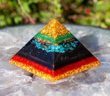 24K and Shungite Orgone Pyramid | Orgone EMF Protection Crystal Pyramid