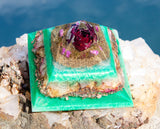 Heart Chakra Orgone Pyramid | Violet Flame Orgone | Red Rose Crystal Pyramid