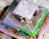 Violet Flame Orgone Pyramid | Large Fairy Crystal Pyramid