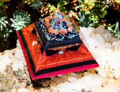 Large Shungite Orgone Pyramid / Carnelian and Turquoise Crystal Grid to Energize and Purify