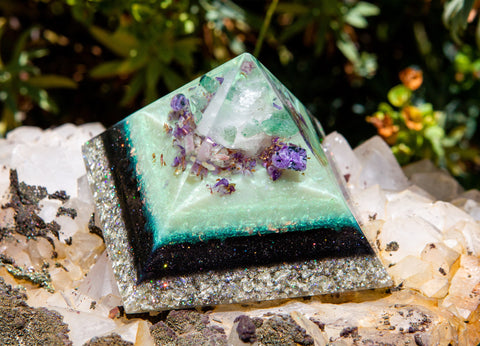 Violet Flame Orgone Rose Quartz Crystal Pyramid