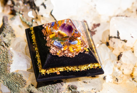 NEW! Shungite Orgone Pyramid with Healing Crystals to Energize and Manifest Abundance