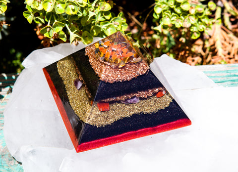 Large Shungite Orgone Pyramid / Ground and Protect Crystal Pyramid