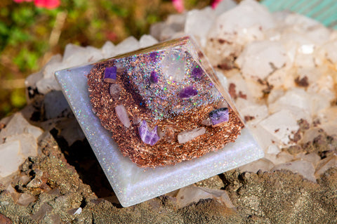 Violet Flame Orgone Celestite Pyramid | Meditation Altar Crystal Pyramid | Crown and Third Eye Chakra Crystals