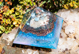 Large Water Blessings Crystal Pyramid / Organite Pyramid with Larimar, Lithium Quartz, Aquamarine
