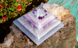 Violet Flame Orgone | Large White Light Crown Chakra Pyramid | Sugilite and Danburite Crytal Pyramid