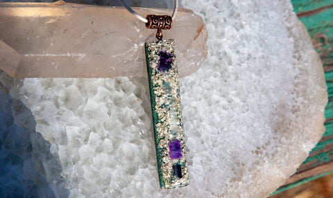 White Gold Higher Consciousness Orgone Crystal Pendant with Amethyst, Celestite and Charoite