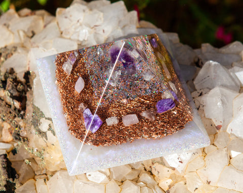 Violet Flame Orgone Pyramid | Meditation Altar Crystal Pyramid | Crown and Third Eye Chakra Crystals