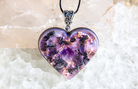 Limited Edition ! Violet Flame Orgone Pendant with Shungite, Copper, Tanzanite, Amethyst and Rose Quartz