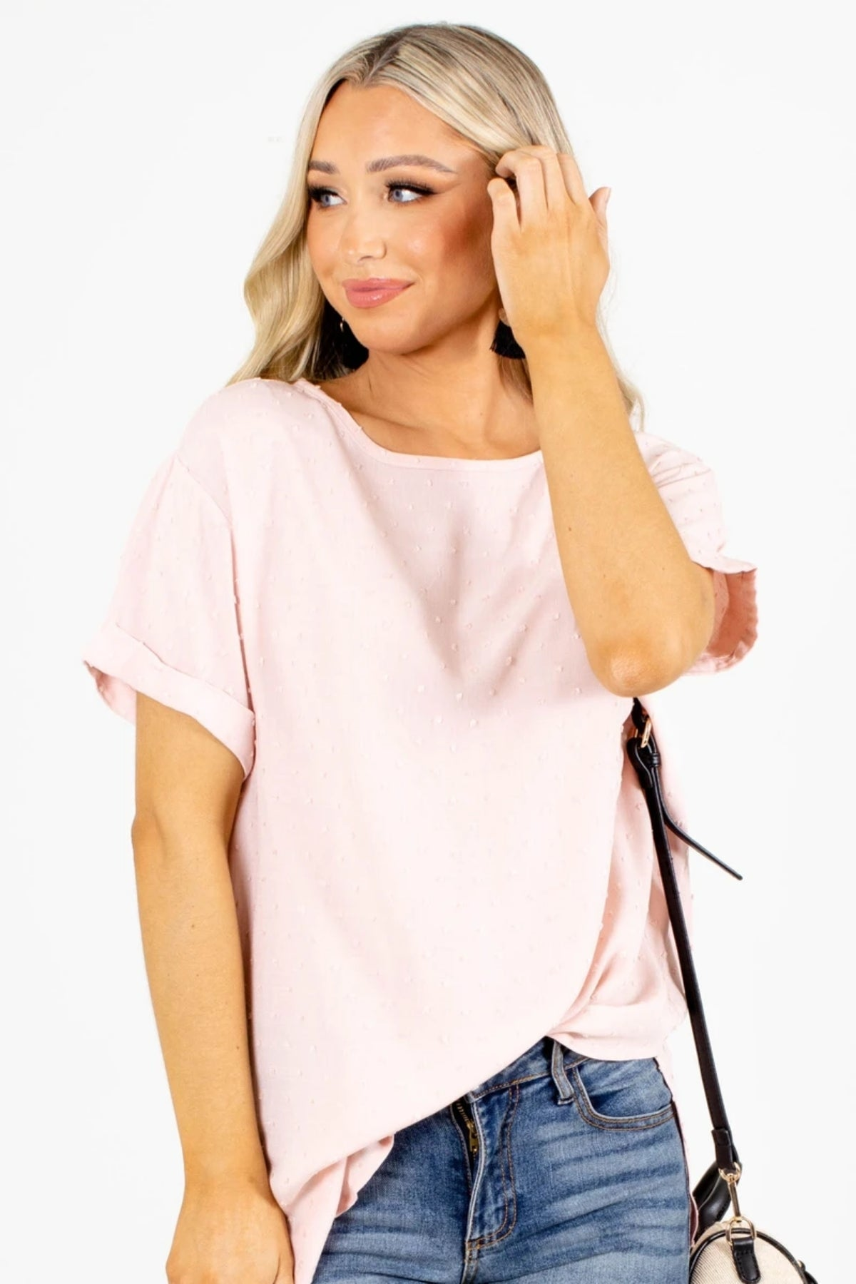 Sale Collection Under $20: Pink Textured Blouse