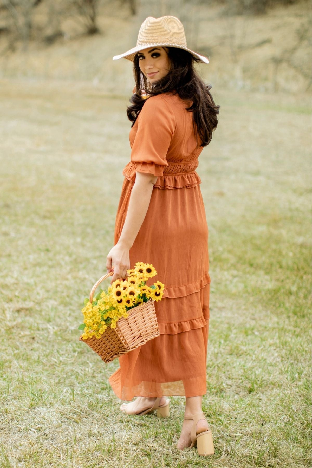 Women's Summer Collection with Orange Dress
