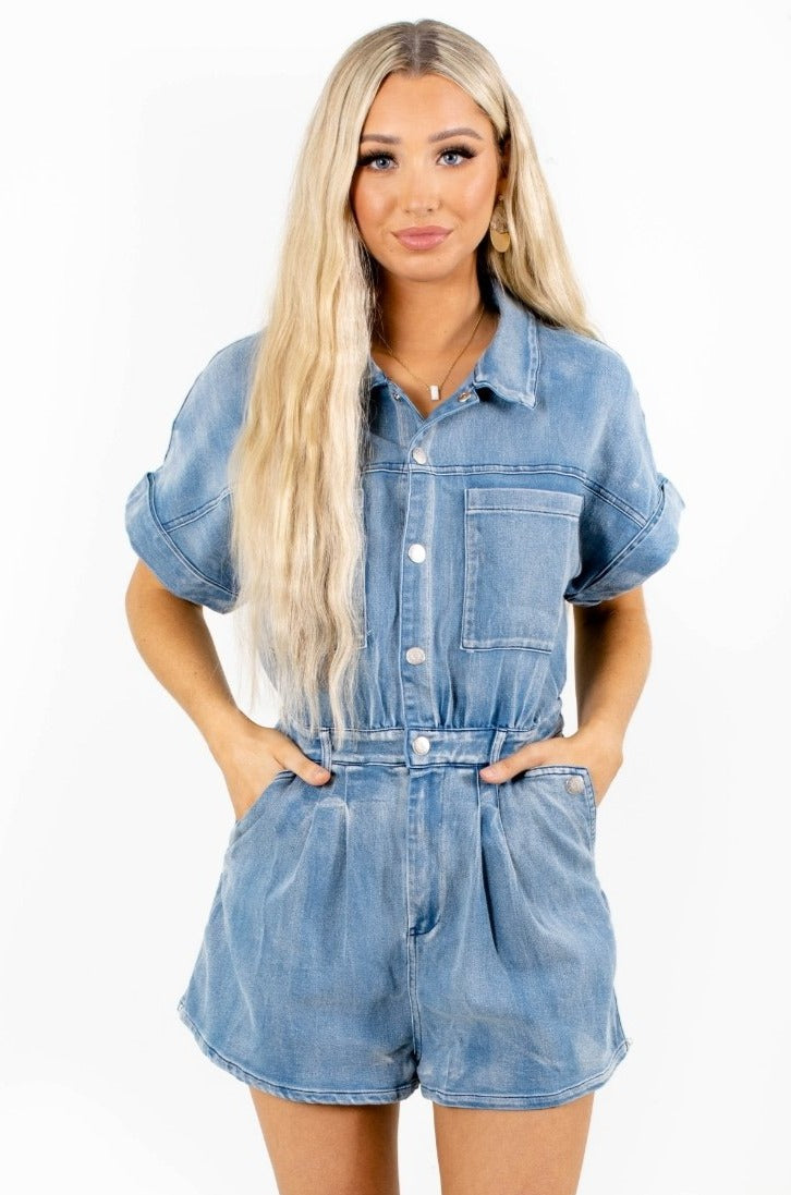 Breezy Afternoon Denim Romper - Blue