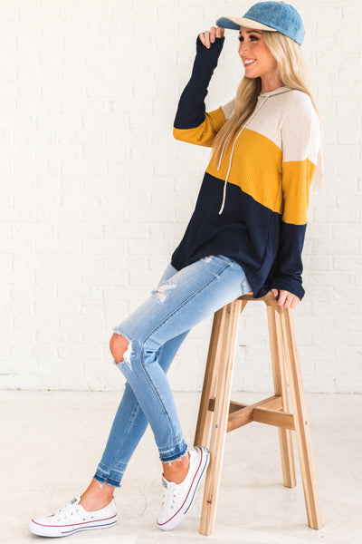 Navy Blue Mustard Yellow Beige White Color Block Waffle Knit Lightweight Hoodie