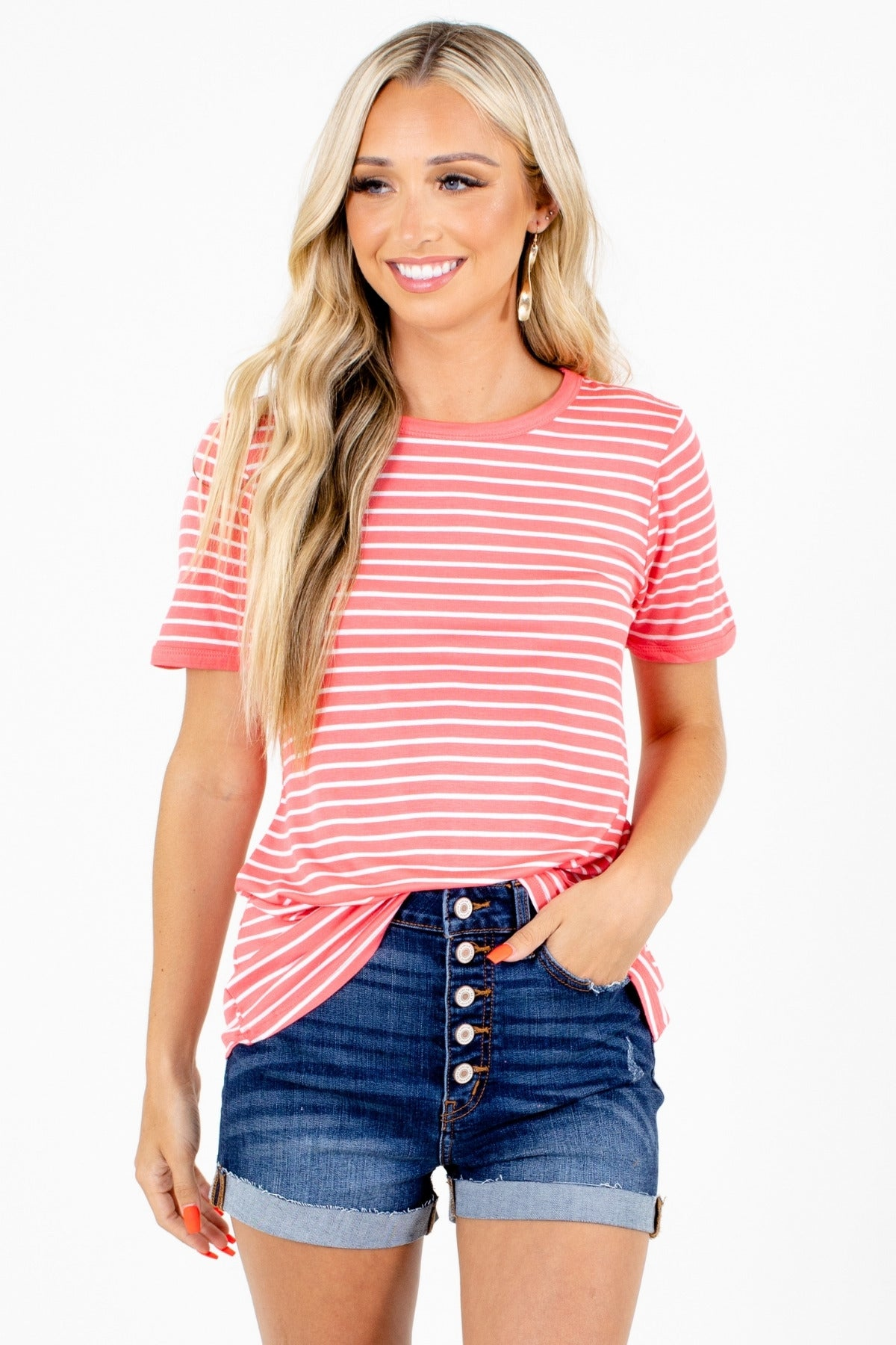 Coral Striped Short Sleeve Top for Women