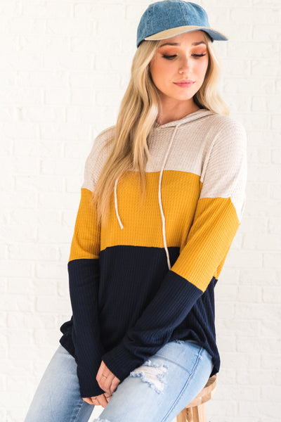 Navy Blue Mustard Yellow Oatmeal Color Block Hoodie Tops for Women