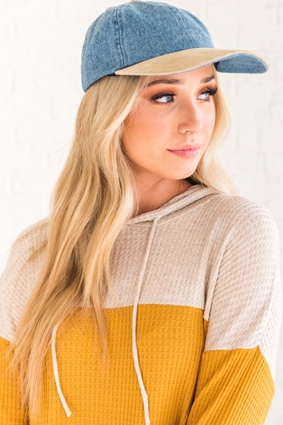 Blue Yellow Beige Color Block Long Sleeve Waffle Knit Top with Hood and Drawstrings