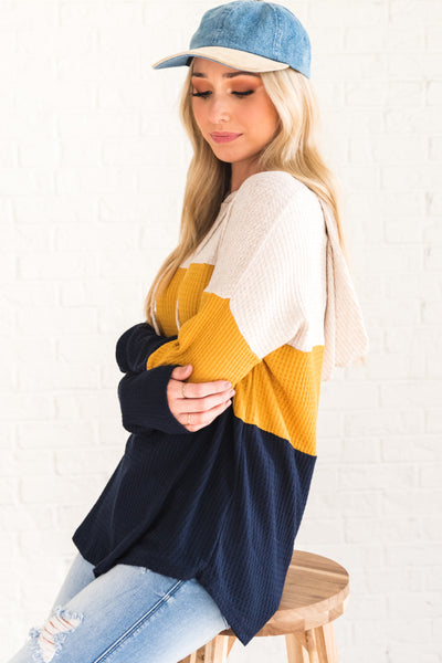 Navy Blue Mustard Yellow Cute Color Block Hoodie Tops Affordable Online Boutique