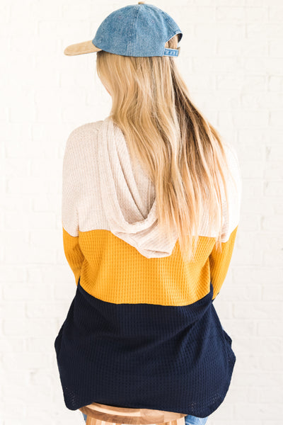 Navy Blue Mustard Yellow Oatmeal Waffle Knit Long Sleeve Top with Hoodie