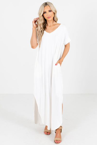 Women's White Comfortable Boutique Maxi Dress