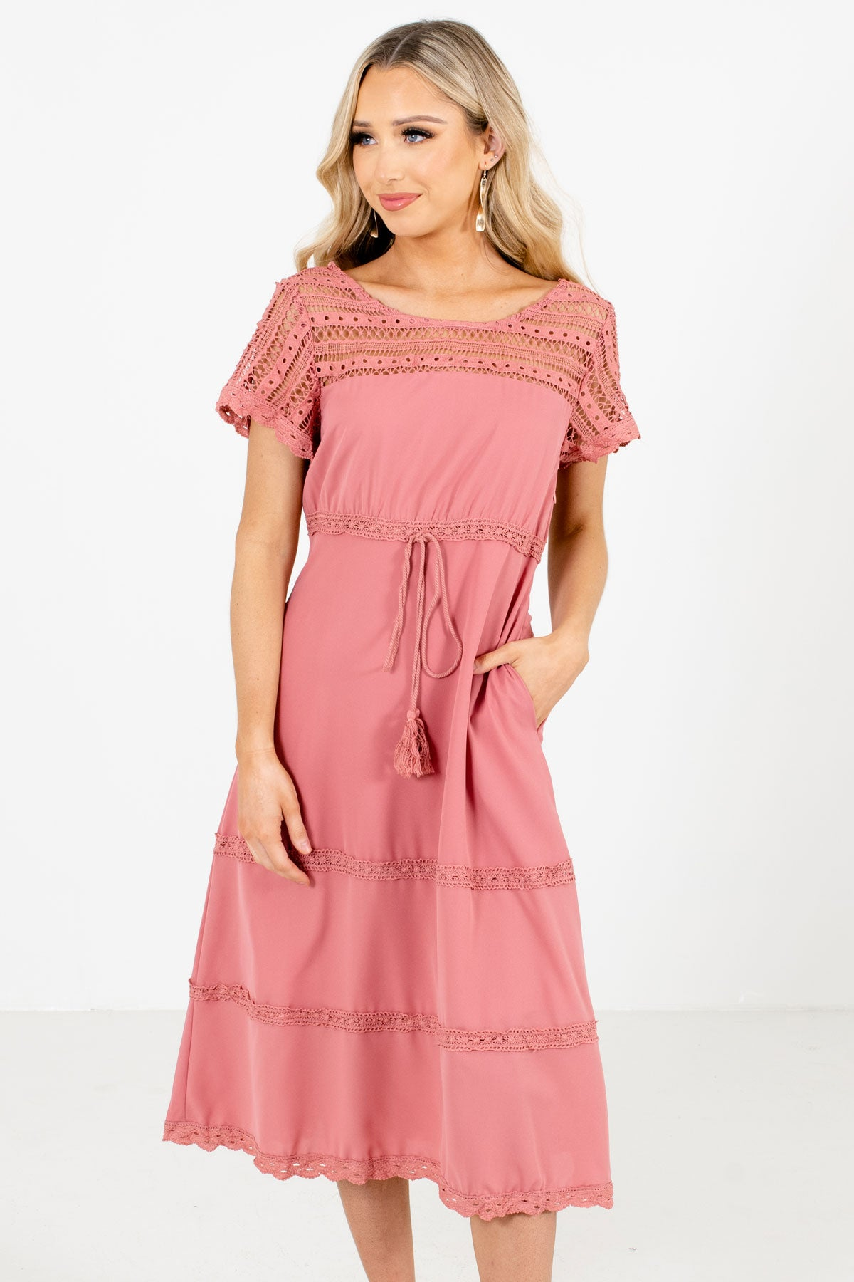 Pink Semi-Sheer Crochet Detailed Boutique Midi Dresses for Women