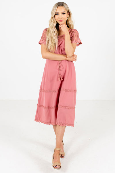 Women's Pink High-Quality Lightweight Material Boutique Midi Dress
