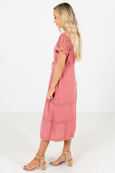 Pink Boutique Midi Dress with Pockets for Women