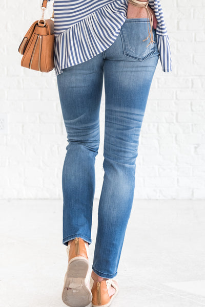 Dark Wash Blue Ripped Jeans