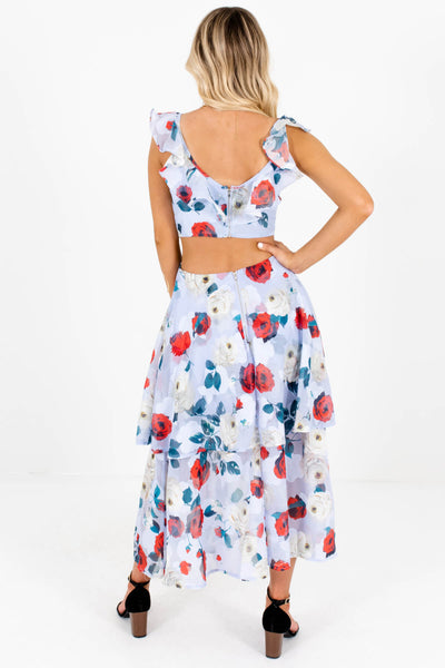 Women's Light Blue Floral Back Cutout Detailed Boutique Maxi Dress