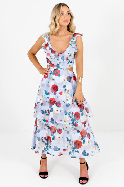 Light Blue Multicolored Floral Patterned Boutique Maxi Dresses for Women