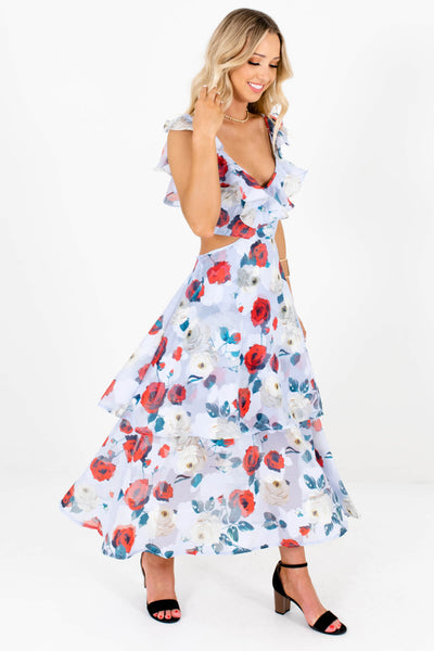 Light Blue Floral Ruffle Accented Boutique Maxi Dresses for Women