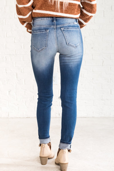 Blue Ripped Skinny Jeans for Women