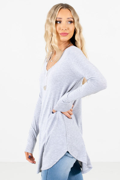 Heather Gray High-Low Hem Boutique Tops for Women