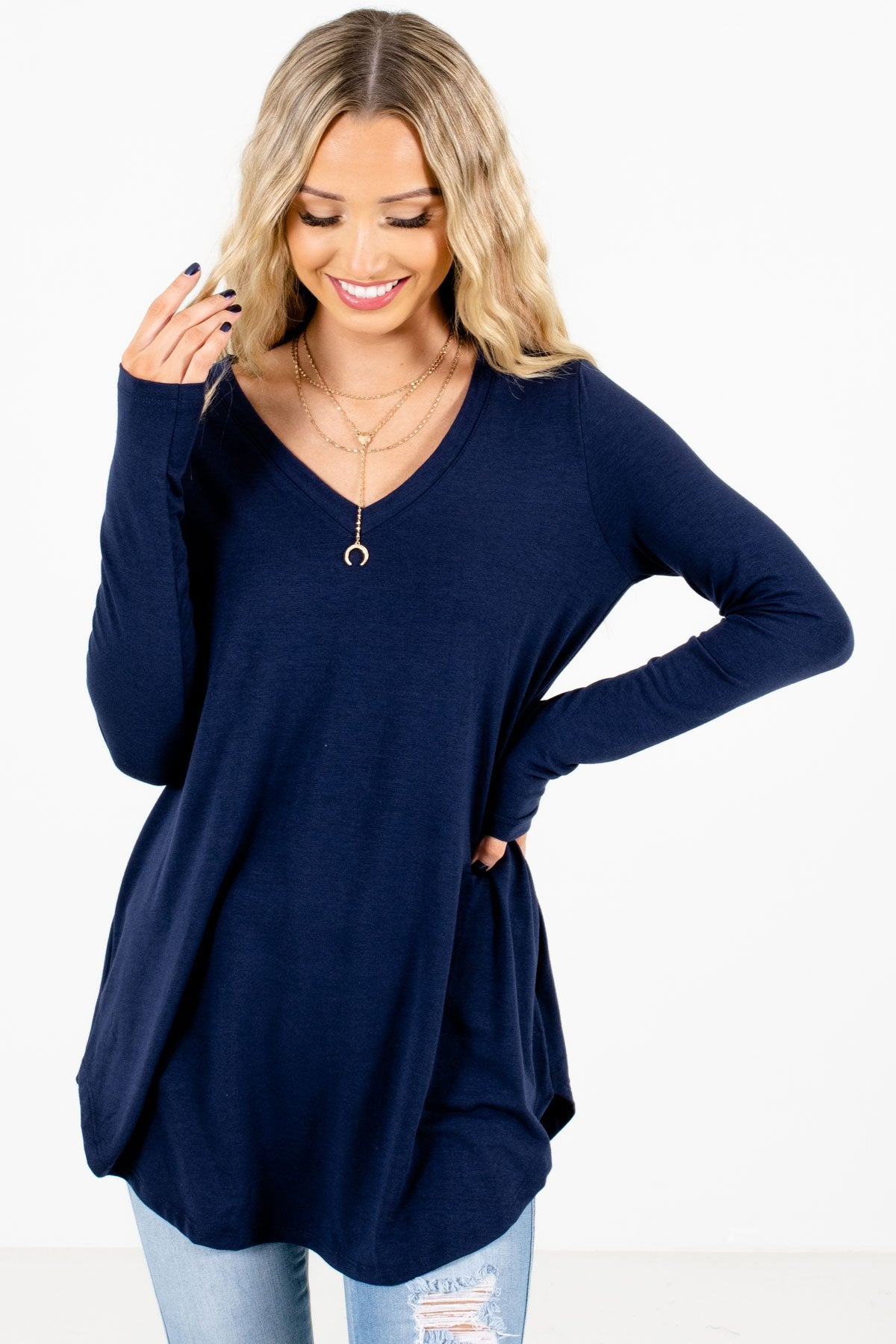 Navy Blue V-Neckline Boutique Tops for Women
