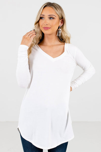 Women's White Relaxed Fit Boutique Tops