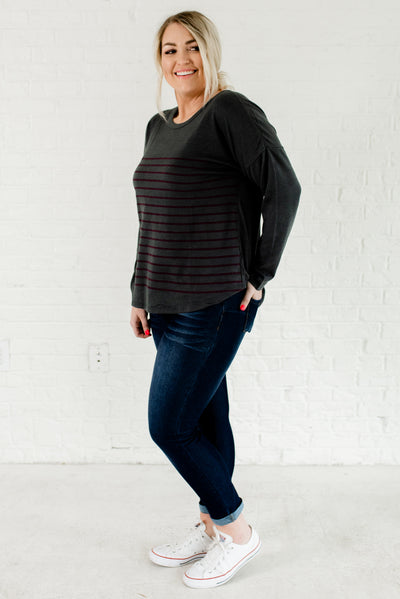 Slate Gray and Purple Striped Warm and Cozy Plus Size Boutique Tops for Women