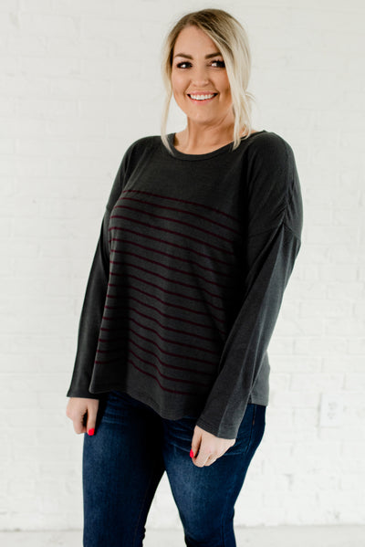 Slate Gray and Purple Striped Plus Size Boutique Tops for Women