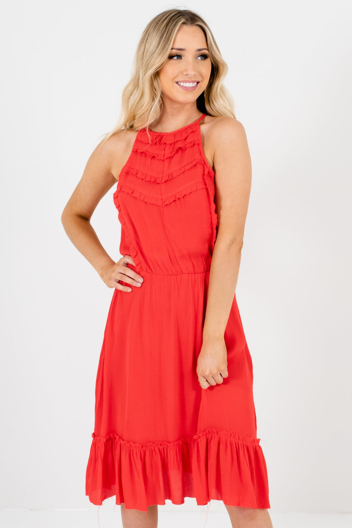 Bright Red Halter Frayed Ruffle Dresses Affordable Online Boutique