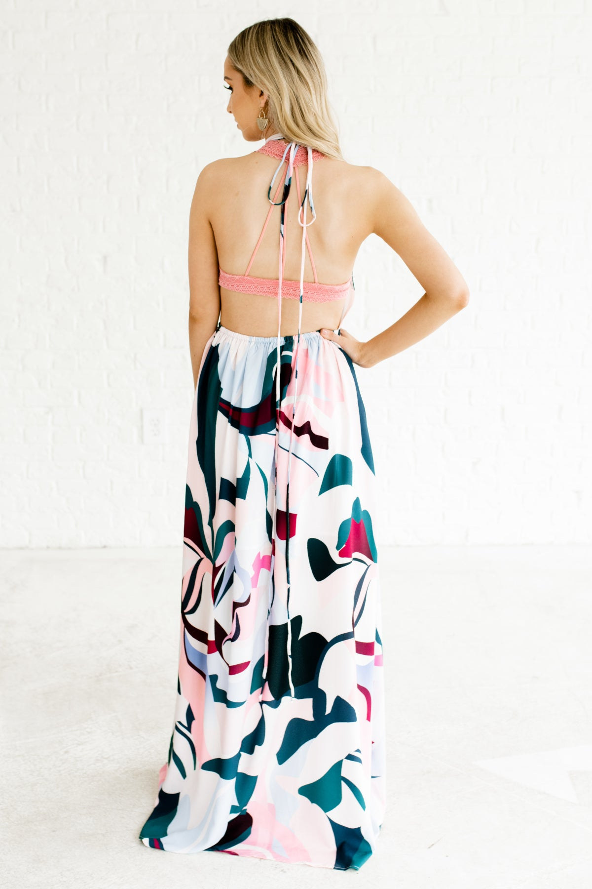 71ebe6753c0 Pink Blue Wine Teal Abstract Print Open Back Halter Dresses