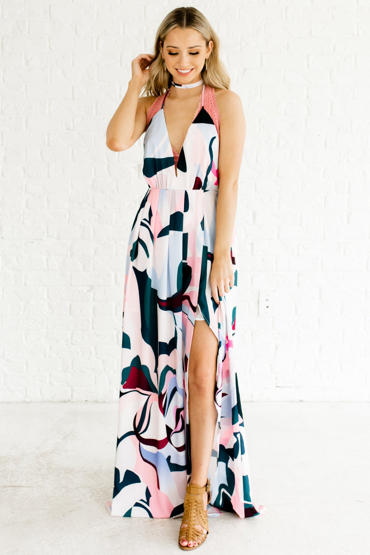 Pink Blue Teal Purple Abstract Print Halter Maxi Dresses
