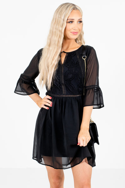 Black Lace and Ladder Lace Detailed Boutique Mini Dresses for Women
