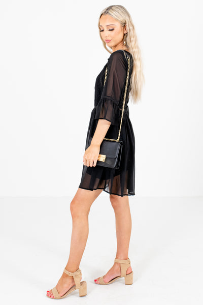 Black Semi-Sheer Material Boutique Mini Dresses for Women