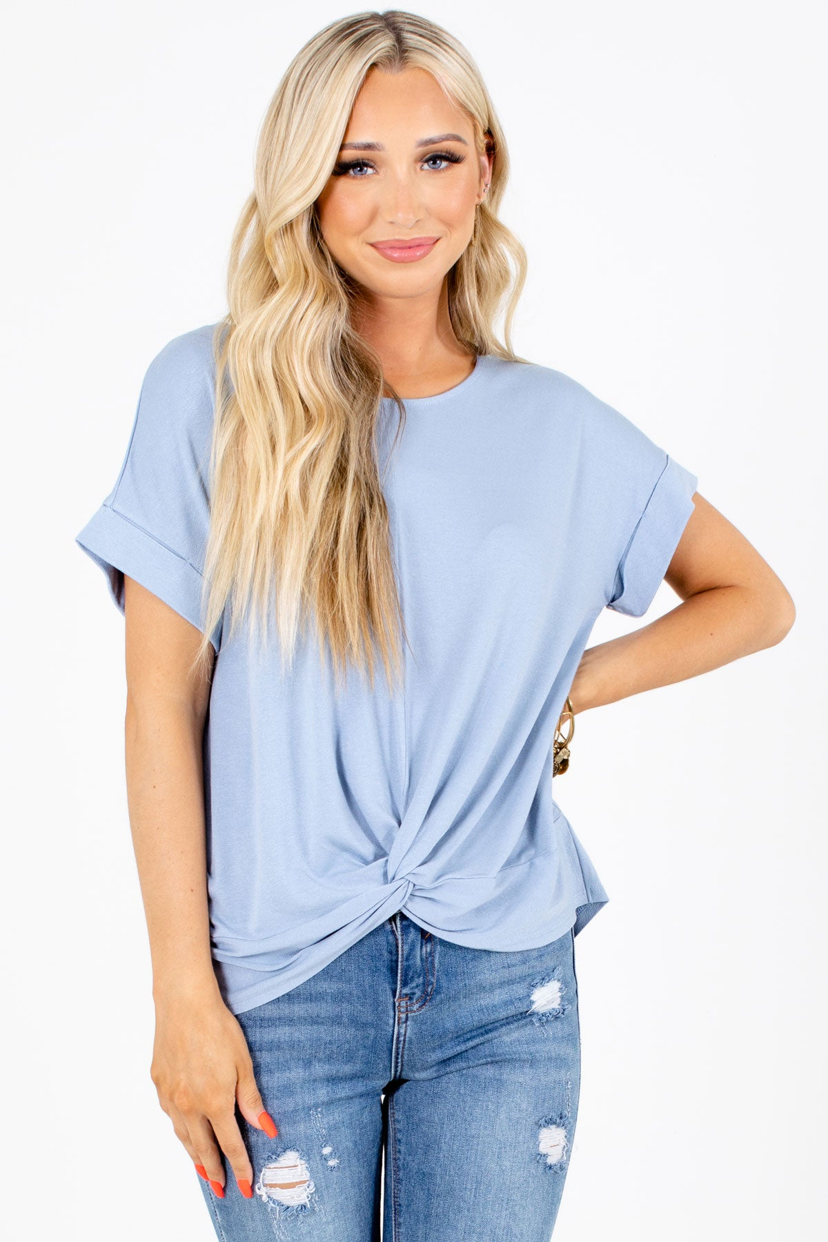 Blue Infinity Knot Detailed Boutique Tops for Women