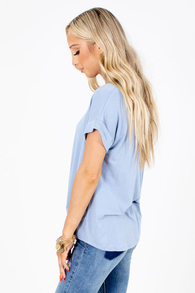 Women's Blue Cuffed Sleeve Boutique Top