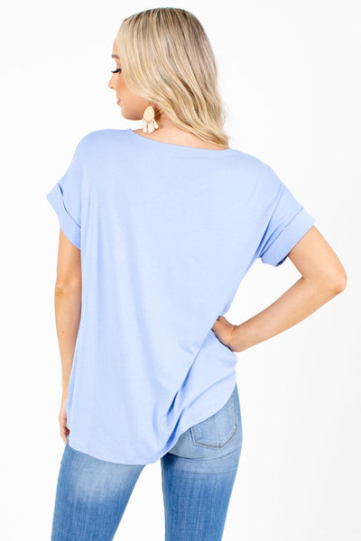 Women's Blue Textured Boutique Tops