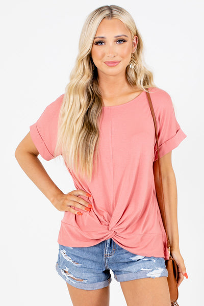 Pink Infinity Knot Detailed Boutique Tops for Women