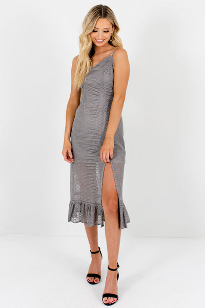 Silver Gray Textured Mesh Overlay Knee-Length Boutique Dresses