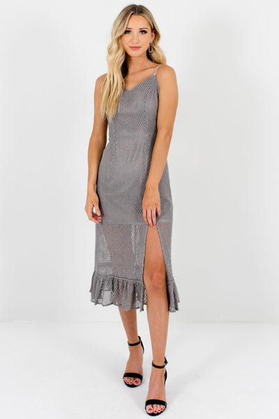 Silver Gray Textured Mesh Overlay Knee-Length Dresses for Women