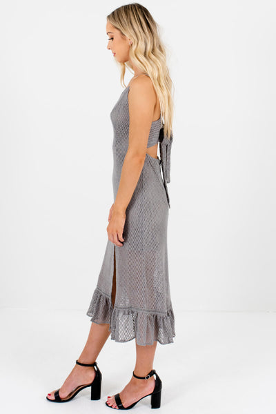Silver Gray Textured Mesh Overlay Boutique Dresses for Women