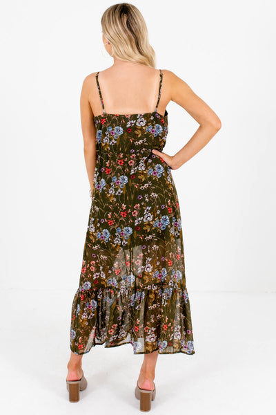Olive Green Floral Button-Up Flowy Maxi Dresses for Women