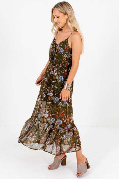 Olive Green Floral Boutique Button-Up Maxi Dresses for Women